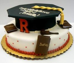 White graduation cake with cap for law student.JPG