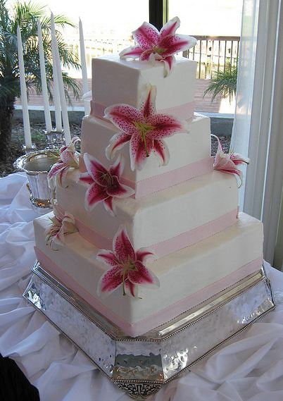 four tier wedding cake with flowers four tier white rectangular wedding cake with fresh 14436