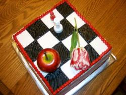 Mini chess board cake with apple and rose.JPG