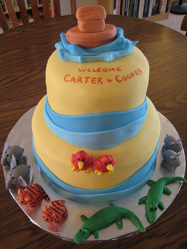 Yellow Baby Shower Cake For Twin Boys with animals theme.PNG