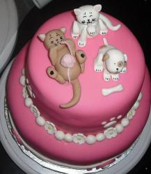 Cute 2 tier pink kittens and puppy cake.JPG