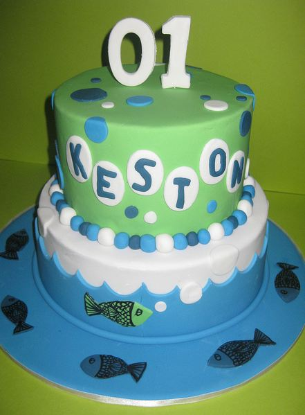 Fish Theme Birthday Birthday Cake http://www.cakepicturegallery.com/v/birthday-cakes/Two+tier+fish+theme+birthday+cake+for+1+year+old.JPG.html