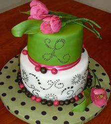 Two tier cake in green and white with monogram and flowers on top.JPG