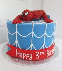 Crawling Spiderman theme birthday cake for 3 year old.JPG