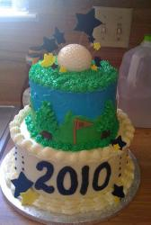 Golf theme 2 tier graduation cake.JPG