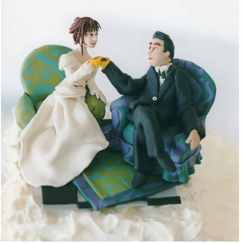 Coffeehouse Couple Cake Topper Modern Wedding Cake ToppersPNG