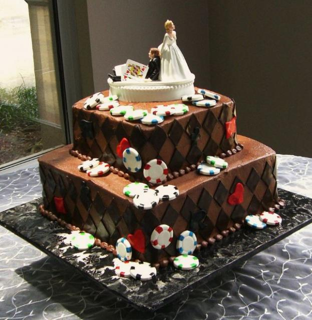Two Tier Chocolate Poker Theme Wedding Cake.JPG