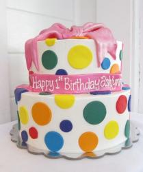 Two tier white round birthday cake with pokadots and pink bow.JPG