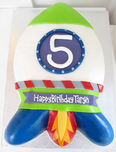 Rocketship Theme Birthday Cake For 5 Year OldJPG