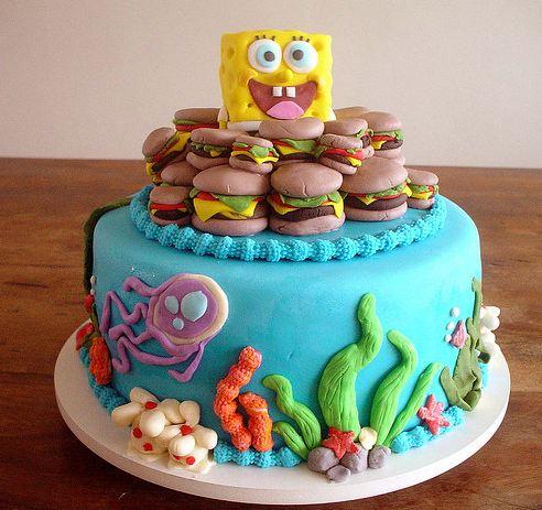 Peachy Spongbob Squarepants Cake With Krabby Patties And Bikini Bottom Funny Birthday Cards Online Kookostrdamsfinfo