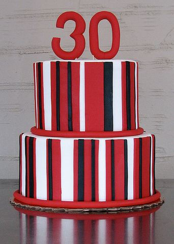 Two Tier Round Birthday Cake With Red And Black And White