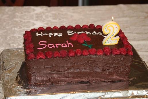 Square Chocolate Birthday Cake With Strawberries