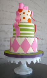 Three tier round birthday cake with pink ribbon bow on top.JPG