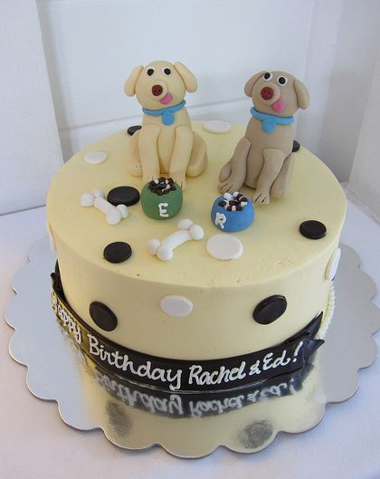 Two Dogs With Tongue Out Birthday CakeJPG