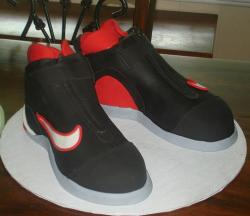 Black and red Nike basketball shoes cake.JPG