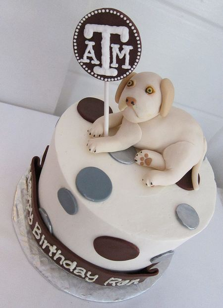 Texas A&M theme birthday cake with puppy and pokadots.JPG
