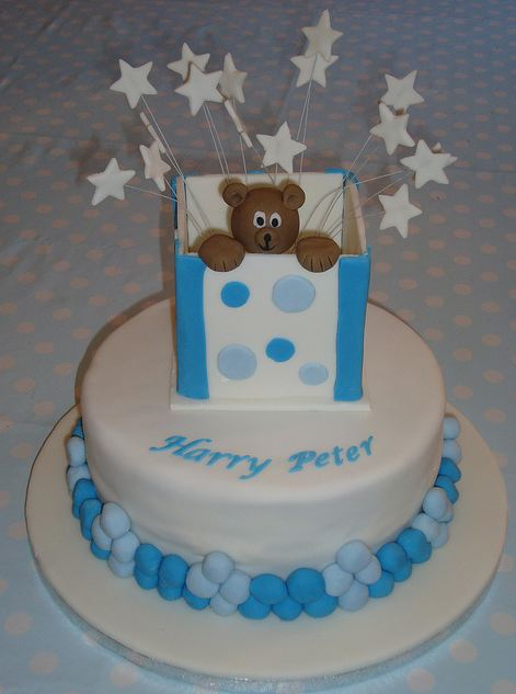 Pikaboo teddy bear in a bag white Christening cake.JPG