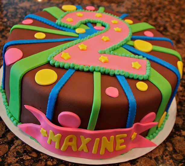 Round Chocolate Birthday Cake With Large Number 2 And