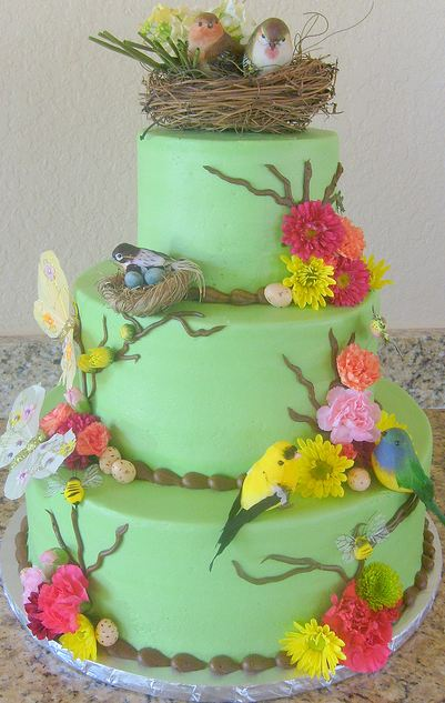 Three Tier Bird Theme Cake With Bird S Nest On Top Jpg 3