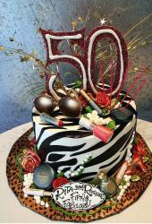 50th birthday glam zebra stripe cake.JPG