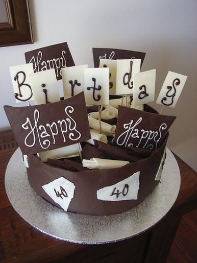 40th Dark White Chocolate Birthday Cake Jpg