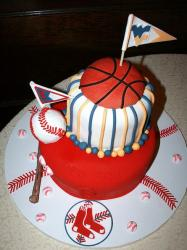 Basketball and baseball sports theme Groom's Cake.JPG
