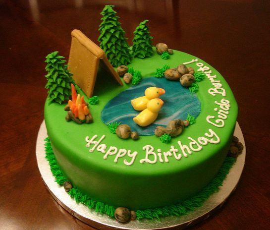 Green Round Camping Theme Cake With Pond And Ducks And