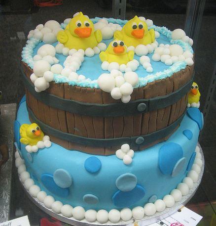 Two Tier Water Barrel Cake With Ducks In A Bubble Bath Jpg