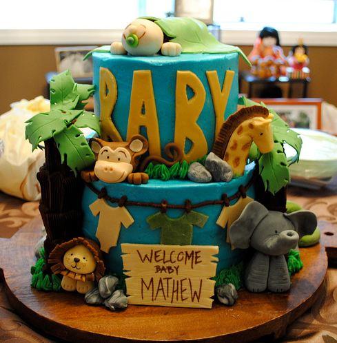 Two Tier Safari Theme Blue Baby Shower Cake.JPG