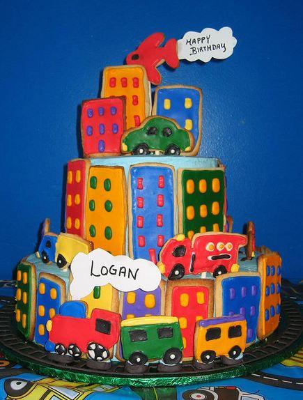 Colorful City Scene Multi Tier Birthday Cake Jpg