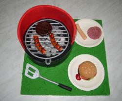 BBQ grill cake with burgers and dogs.JPG