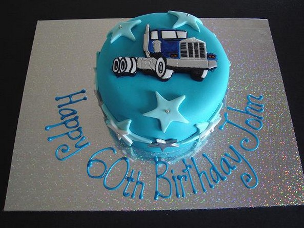 Picture of blue Truck birthday cake