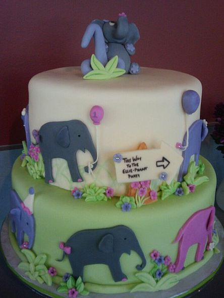 Two tier elephant theme birthday cake for kids.JPG