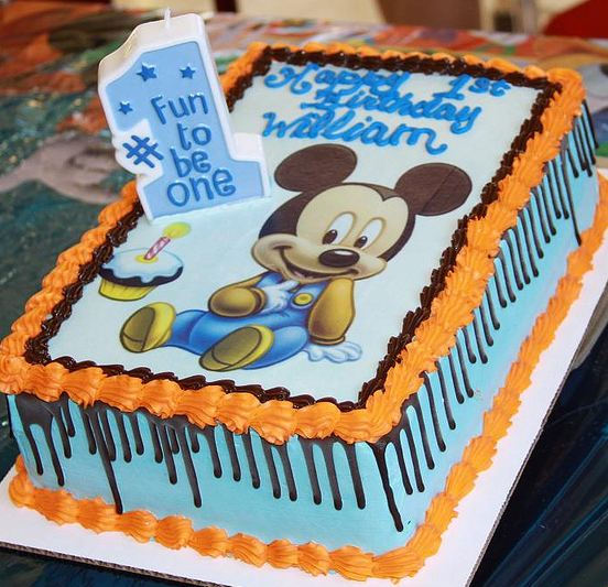 Magnificent Micky Mouse First Birthday Cake In Powder Blue And Rectangular Funny Birthday Cards Online Inifofree Goldxyz