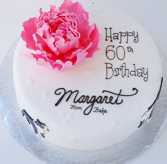 Groovy Round White 60Th Birthday Cake With Pink Flower And Cursive Funny Birthday Cards Online Barepcheapnameinfo