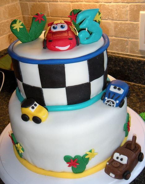 Birthday Cake Designs For 3 Year Old Boy : Two tier Cars theme birthday cake for 3 year old.JPG