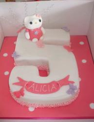 Hello Kitty birthday cake in the shape of the number 5.JPG