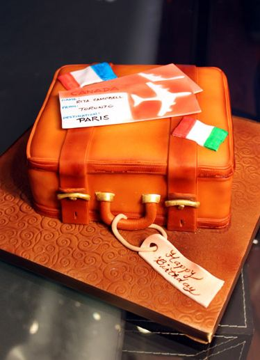 Orange Suit Case Travel Theme Birthday Cake Jpg