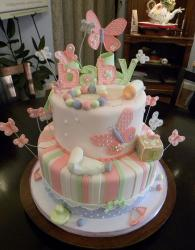 Two tier pink butteryfly theme baby shower cake