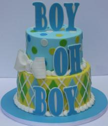 Two tier round baby shower cake for boy in powder blue