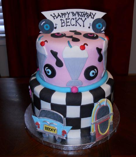 Retro 50s Style Two Tier Birthday Cake With Milkshake And Jukebox