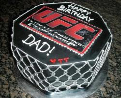 UFC theme ring birthday cake.JPG