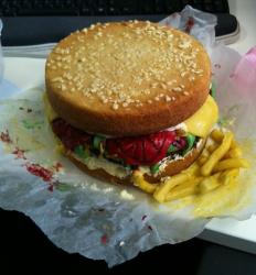 Messy burger and fries cake.JPG
