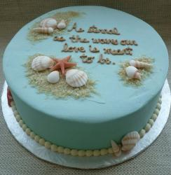 Power blue round ocean theme cake with sea shells.JPG