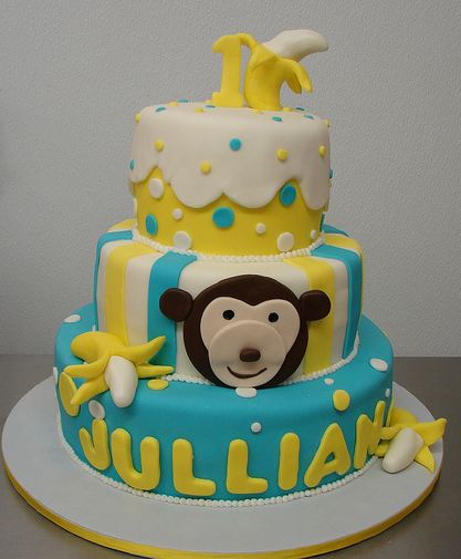 3 Tier Monkey Theme First Birthday Cake With Bananas Jpg