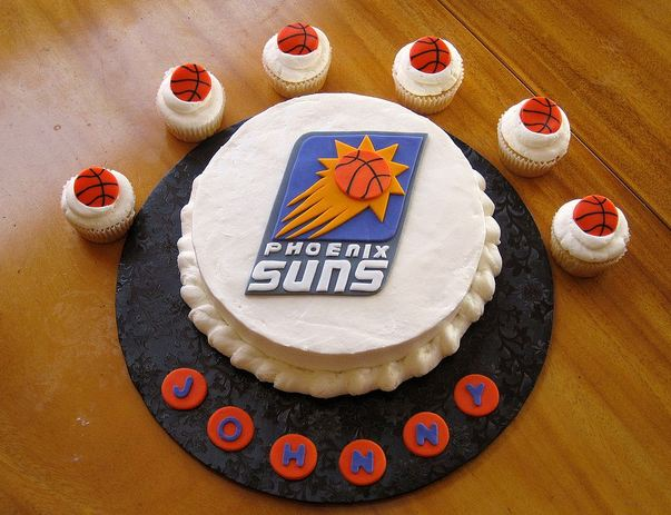 Astonishing Phoenix Suns Basketball Theme Birthday Cake And Cupcakes Jpg Funny Birthday Cards Online Barepcheapnameinfo