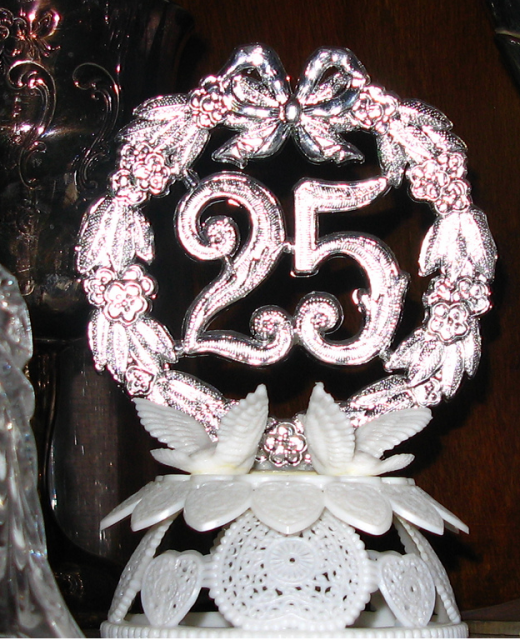 Silver Anniversary Cake Topper PicturePNG