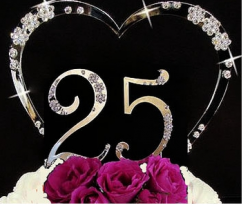 Silver anniversary cake topper with heart shape.PNG