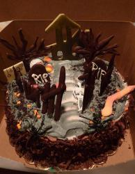 Chocolate graveyard theme Halloween cake.JPG