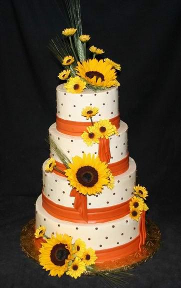 sweet sunflower wedding cake. Black Bedroom Furniture Sets. Home Design Ideas